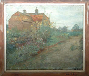 House in Surrey (unfinished): probably Broomfield. Shows the house, with pleasant flower garden in front and path leading diagonally across picture.