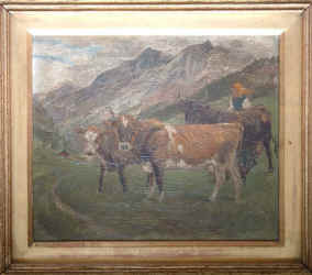 Swiss cattle, by Randolph Caldecott (shows 3 cows with Swiss lady, mountains in background)